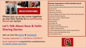 """Let's Talk about Race and Faith, a Conversation Hosted by the OSU Interfaith Council"