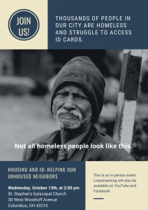 Read more about the article Upcoming Forum on October 13 at 2:00 PM: Housing & ID – Helping Our Unhoused Neighbors