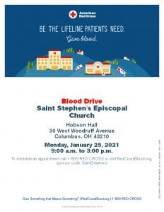Red Cross Blood Drive Monday, January 25th 9:00am – 3:00pm Hobson Hall