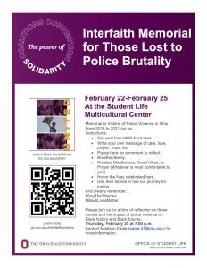 Interfaith Memorial for Those Lost to Police Brutality