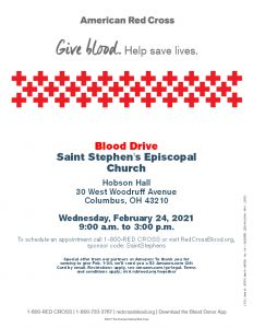Red Cross Blood Drive Wednesay Feburary 24, 2021 9:00am – 3:00pm Hobson Hall